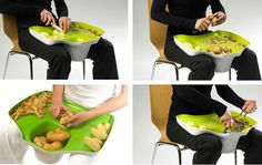 """For those who get tired of cutting your stuff while standing up, the lap counter cutting board allows you to do your kitchen work while you're sitting down comfortably."" Interesting product for people working in a seated position, from a chair, etc."