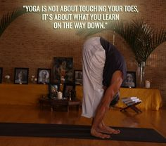 """💚 🌻 """"Yoga is not about touching your toes, It's about what you learn on the way down"""" 💚 🌻 https://www.facebook.com/mediyogi/  #YogaInspiration #YogaQuotes #HappyMonday #MorningYoga"""