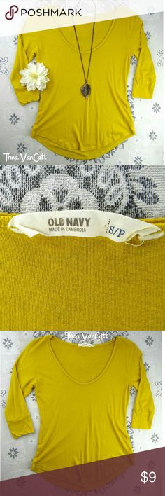OLD NAVY - Mustard 3\4 Sleeve Round Neck T-shirt! Super comfy top from OLD NAVY! Top is in great shape! . BUNDLE & SAVE!  . Happy POSHing friends! <3 Old Navy Tops