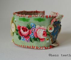 CUFF or bracelet. Textile all hand stitched. by hensteeth Art Textile, Textile Jewelry, Fabric Jewelry, Jewelry Art, Jewellery, Fabric Beads, Fabric Art, Fabric Bracelets, Textiles