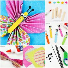 Accordion Fold Paper Butterfly Craft for Tweens Paper Butterfly Crafts, Paper Butterflies, Accordion Fold, Diy Arts And Crafts, Tween, Wall Decorations, Room, Early Education, Manualidades