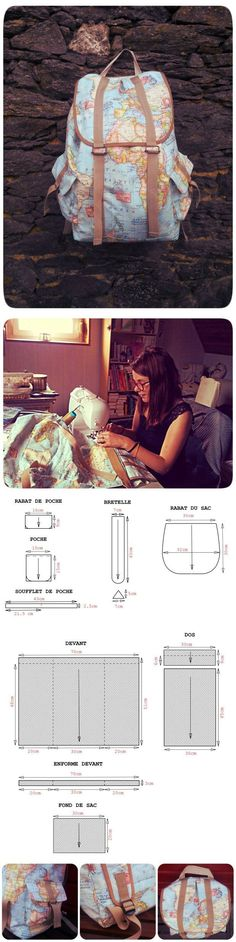 Check the way to make a special photo charms, and add it into your Pandora bracelets. pockets (DIY) / basic patterns / SECOND STREET how to sew a bag Sewing Tutorials, Sewing Hacks, Sewing Crafts, Sewing Projects, Mochila Tutorial, Bag Sewing, Sewing Pockets, Backpack Pattern, Backpack Tutorial