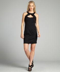 Cynthia Steffe black jersey Sophia crisscross neckline sleeveless dress