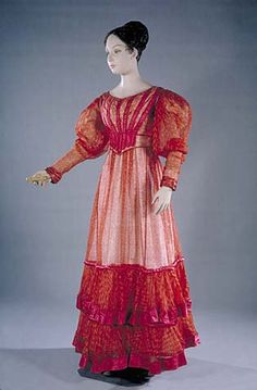 Background:    This dress was worn by a member of the Adams Clement family. There has always been some speculation that it might have been worn by Louisa Catherine Adams (Mrs. John Quincy Adams) but there is no documentary evidence to support that conclusion. However, the dressmaker that made this dress was highly skilled and knew the latest fashions.