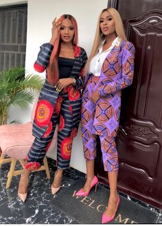 ankara mode CHN Designs called on two very beautiful Nigerian women, Chikodi Nwanisobi and Fortune Whyte and got them all bossed up in what the brand calls The Ankara Boss The images were Modern African Print Dresses, African Dresses For Women, African Attire, African Wear, African Fashion Dresses, African Women, African Style, African Suits, Ankara Fashion