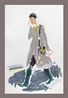 London Fall 2012 Fashion Week snap sketch by Damien Florebert Cuypers: Liu Wen