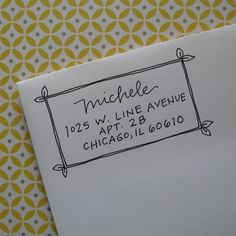 Michele Address Stamp (Red Rubber on Wood Block). $46.00, via Etsy.
