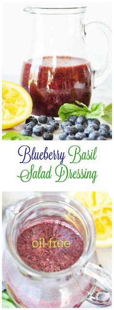 Blueberry Basil Salad Dressing! This delicious oil-free dressing has only four ingredients, if you don't count the water, sugar, and salt. Pour it over your favorite salad and you'll be in your happy place. www.veganosity.com