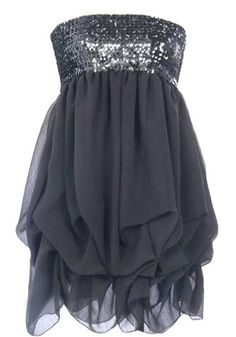 Iced Charcoal Dress: Features a chic strapless design with all-over sequin bodice, stretchy upper portion for a custom fit, and cloud-like gathered chiffon fabric expertly draped around the hem to finish.