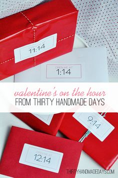 "To celebrate Valentine's day, send your significant other with a bag full of small gifts to open on the ""14th"" of every hour.  Ideas for gifts: small gift card to favorite restaurants, book store, coffee shop, a good book, socks, cd of songs that remind you of him, a picture of the two of you, his favorite candy bar…..the possibilities are endless.. Modify this for my kiddies too!"