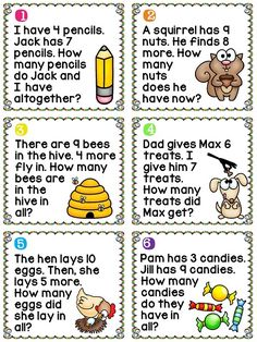 Addition word problems (adding to 20) task cards with pictures to help them read/visualize.. great for