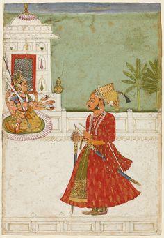 Raja Pratap Singh standing on a terrace worshipping the goddess Devi, Jodhpur, dated 1732-33.