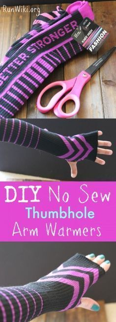 DIY easy No Sew Thumb Hole Arm Warmer= this craft idea is an essential clothing item for someone running in the fall, winter and cold weather months. You can get the socks for less than a dollar, so if you need to wear them during a half marathon or training you wont feel bad tossing them after you warm up. Would make a great Christmas gift for a runner or fitness person. runners hack | tips | 5k |10K Training