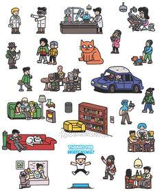 #Characters  Customer: the Internet journal TagAbout (tagabout.ru) http://tagabout.ru/ Advertising Agency: Proektmarketing +1 (proektmarketing.ru)Illustrator: Zhenya Artemyev (brskstrb.ru)