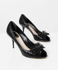 9cf90396491d Buy authentic secondhand Christian Dior Black Patent Cannage Bow Peep Toe  Pumps at the right price