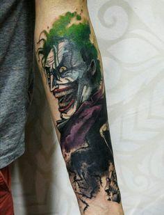 By Victor Octaviano   Brazilian Tattoo Artist   #Watercolor #Tattoo #Joker #Coringa #Batman