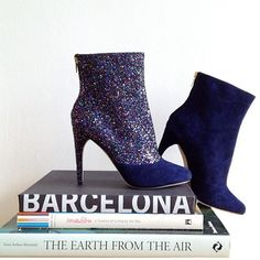 Lupe glitter and suede two tone boots in Barcelona Spain.