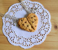 Heart chocolate chips cookie best friend necklaces polymer clay