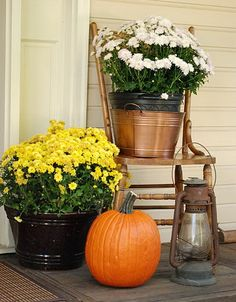 Fall Front Porch Decorating Ideas I like the lantern Autumn Decorating, Porch Decorating, Decorating Ideas, Interior Decorating, Thanksgiving Decorations, Seasonal Decor, Fall Decorations, Thanksgiving Table, Front Door Decor