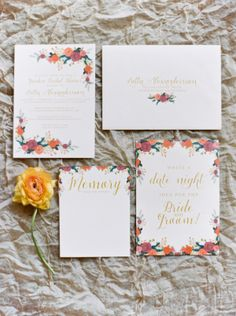 Gorgeous floral bridal shower stationery: http://www.stylemepretty.com/california-weddings/bakersfield/2015/08/24/bakersfield-garden-party-bridal-shower/ | Photography: Mariel Hannah - http://www.marielhannahphoto.com/