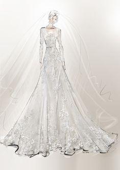 c39c8f4ce2c Эскиз свадебного платья Elie Saab для Роуз Лесли Роуз Лесли