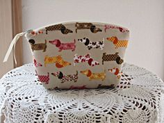 Linen+Clutch+Cosmetic+Bag++Purse+Doxies+on+by+Antiquebasketlady,+$13.00