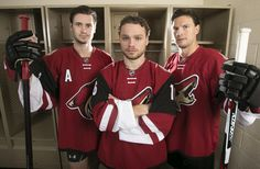 Game faces on! OEL, Max Domi and Shane Doan. Shane Doan, Coyotes Hockey, Max Domi, Steven Stamkos, Coyote S, Arizona Coyotes, Jonathan Toews, Of Montreal, Montreal Canadiens