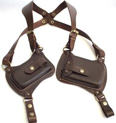 Leather shoulder Holster double case for phone and wallet Phone Holster, Gun Holster, Leather Holster, Leather Harness, Leather Pouch, Leather Art, Cowhide Leather, Leather Suspenders, Leather Working