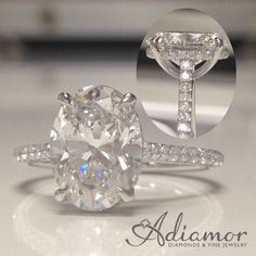 This oval cut with a French basket setting is a knockout! Our setting R2972 lets the center diamond stand alone and sparkle! #adiamor #ovalcut #diamond #engagementring #rings