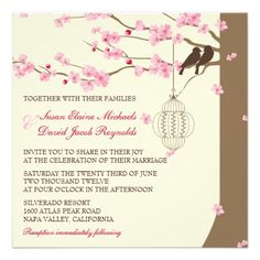 Love Birds Vintage Cage Cherry Blossom Wedding Personalized Announcements