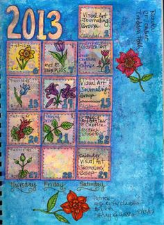 June 2013 Botanical Sketch a Day spread, left hand page.