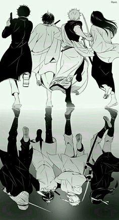 Sakata Gintoki, Takasugi Shinsuke, Katsura Kotaro and Sakamoto Tatsuma Manga Anime, All Anime, Manga Art, Anime Guys, Anime Art, Sakamoto Tatsuma, Katsura Kotaro, Gintama Funny, Gintama Wallpaper