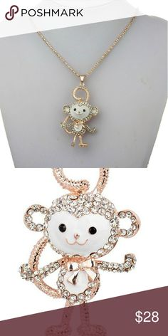 Navy Blue Crystal Cute Little Monkey Pendant Double Layer Chain Rose Gold Plated Long Sweater Necklace