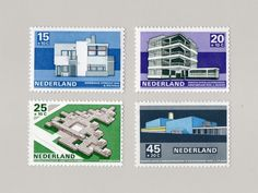 Dutch Modernist architecture stamps