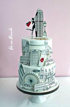 Tarta de boda londinense /london cake Cake Paris, Paris Themed Cakes, London Cake, Pretty Cakes, Beautiful Cakes, Amazing Cakes, Unique Cakes, Creative Cakes, Fondant Cakes