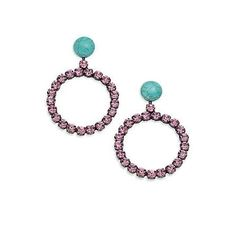 joanna laura constantine Turquoise Circle Drop Earrings - Pink $34.00