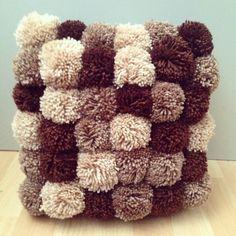 Pom Pom Cushion in Brown Shades neutrals on by knitbitsandbobsshop