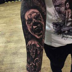 Tattoo Clown doll player 3D - http://tattootodesign.com/tattoo-clown-doll-player-3d/   #Tattoo, #Tattooed, #Tattoos
