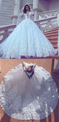 Deep V-neck Tulle Ball Gown Wedding Dress With Applique And Beading,Bridal Dresses Ball Gown Wedding Dress with Long Sleeves BDS0394 #weddinggowns
