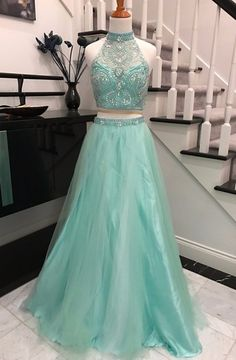 Two Piece A-line Halter Backless Long Mint Prom Dress with Beading Pearls