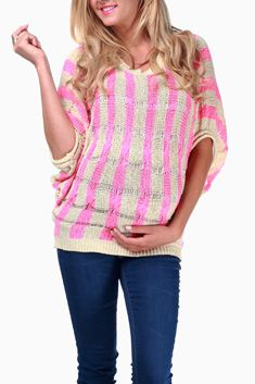 Pink Cream Striped Knit Maternity Sweater