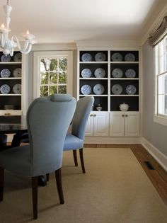 Navy Paint Design - White built-ins with painted back/inside.