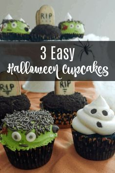 Learn how to make 3 easy Halloween cupcakes with just one cupcake and one frosting recipe! These cupcakes are delicious and the kids will love this Halloween treat. Halloween Cupcakes Easy, Halloween Desserts, Halloween Cookies, Easy Halloween, Halloween Treats, Themed Cupcakes, Fun Cupcakes, Cupcake Cookies, Frosting Recipes