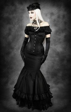 Restyle Morticia Rock Barock Fishtail Gothic Lolita Mermaid Victorian Skirt Mera | eBay