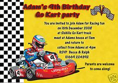 Go Kart Party Imvitation. Go Kart Party, Car Party, Go Kart Tracks, Go Kart Racing, Party Themes, Party Ideas, Dad Day, Karting, You Are Invited