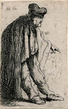 Beggar With His Left Hand Extended   Rembrandt Prints Online   The Morgan Library & Museum