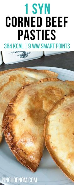 1 Syn Corned Beef Pasties | Pinch Of Nom Slimming World Recipes 364 kcal | 1 Syn | 9 Weight Watchers Smart Points