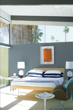 Look at the paint colour combination I created with Benjamin Moore. Via @benjamin_moore. Bedroom Wall: Montpelier AF-555; Ceiling: Patriotic White 2135-70.