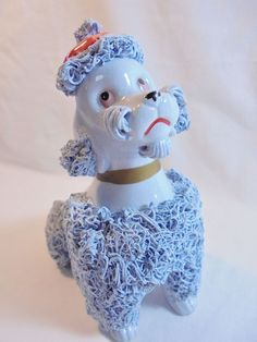 Vintage Blue Spaghetti Poodle Figurine Wales? Japan Red Beret Hand Painted 50's