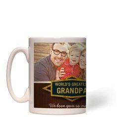 Classic Grandpa Mug, White, 15 oz, Brown
